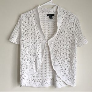 Thesis crotchet white cardigan cover-up Sz M